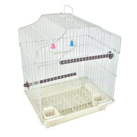 White 14-inch Small Parakeet Wire Bird Cage for Budgie Parakeets Finches Canaries Lovebirds Small Quaker Parrots Cockatiels Green Cheek Conure perfect Bird Travel Cage and Hanging Bird House
