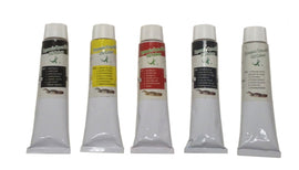 Zen Art Supply Set of 5 Oil Paints 180ml Tubes White Black Red Yellow Blue