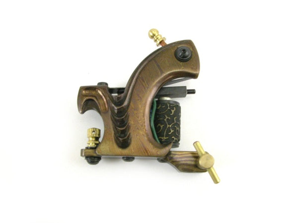 TATTOO MACHINE /GUN - DAMASCUS STEEL FRAME - 10 WRAP CUSTOM BUILT HANDMADE