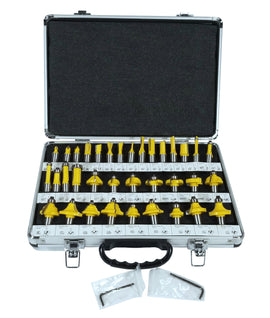 "35 Piece Carbide Router Bits Set, 1/2"" Shank, Multiple Route Bits, Aluminum Case"