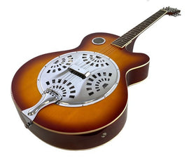 RESONATOR GUITAR Acoustic-Electric SEPELE SPRUCE Top Single Cutaway Steel Pan Blues in Plush HARDSHELL Travel CASE