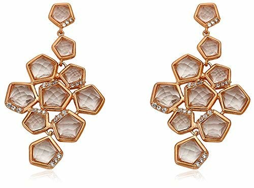 Riccova City Lights Faceted Glass Cluster Earrings with CZs, Rose Gold