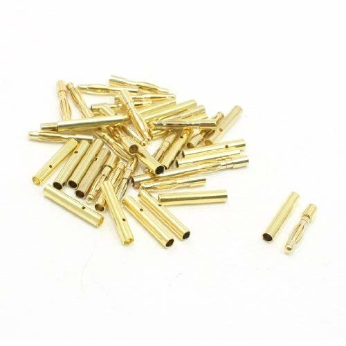 uxcell 20 Pairs Gold Tone Metal Audio Telephone Device 2mm Dia Banana Connector