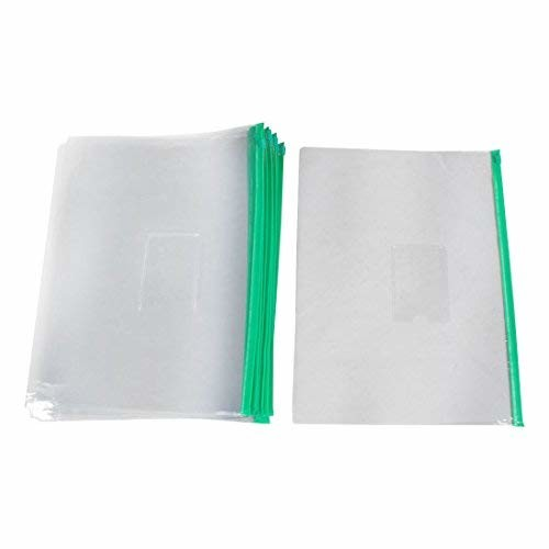 uxcell Ziplock Closure Size A4 Paper Slider Folders Files Bags 20 Pcs Green Clear