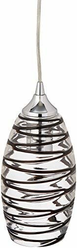 Elk 31338/1VINW Twister 1-Light Pendant with Vine Wrap Glass Shade, 5 by 10-Inch, Polished Chrome Finish