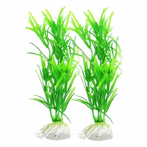 Jardin Plastic 2-Piece Aquarium Grass Fish Tank Plants Décor, 6.7-Inch, Green