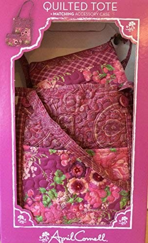 April Cornell Quilted Tote Matching Accessory Case (Pinks/Plums)