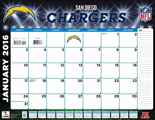 Turner San Diego Chargers 2016 Desk Calendar, January-December 2016, 22 x 17