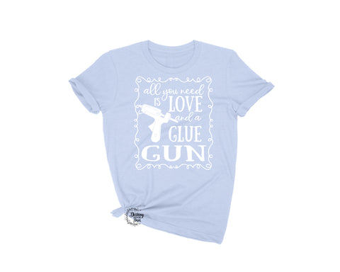 Love and a Glue Gun Crafting Wreath Shirt in Several Heather Colors w/White Print