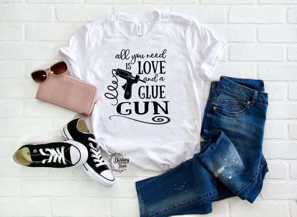 Love and a Glue Gun Crafting Wreath Shirt in Several Colors w/Black Print