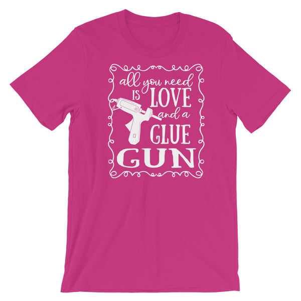 Love and a Glue Gun Crafting Wreath Shirt in Several Jersey Colors w/White Print