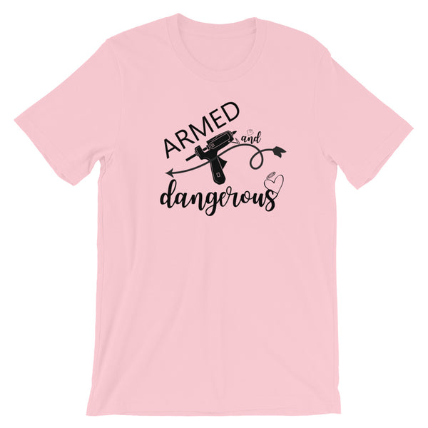 Armed and Dangerous Wreath and Crafting Graphic T-Shirt in Several Colors w/Black Print