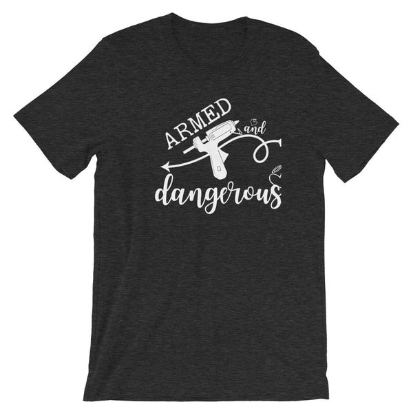 Armed and Dangerous Wreath and Crafting Graphic T-Shirt in Dark Grey Heather w/White Print