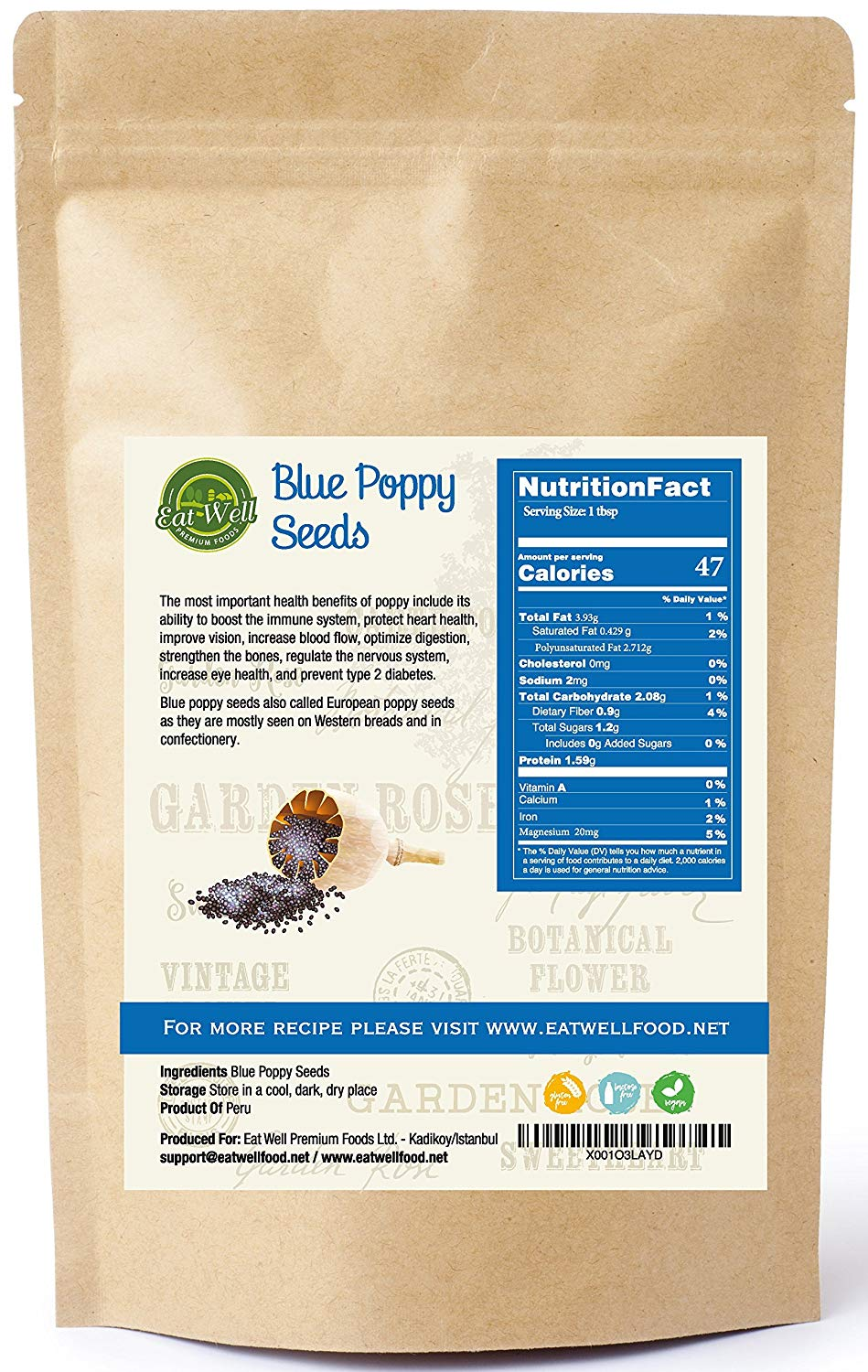 Whole Poppy Seeds | Reseable Bag , Bulk