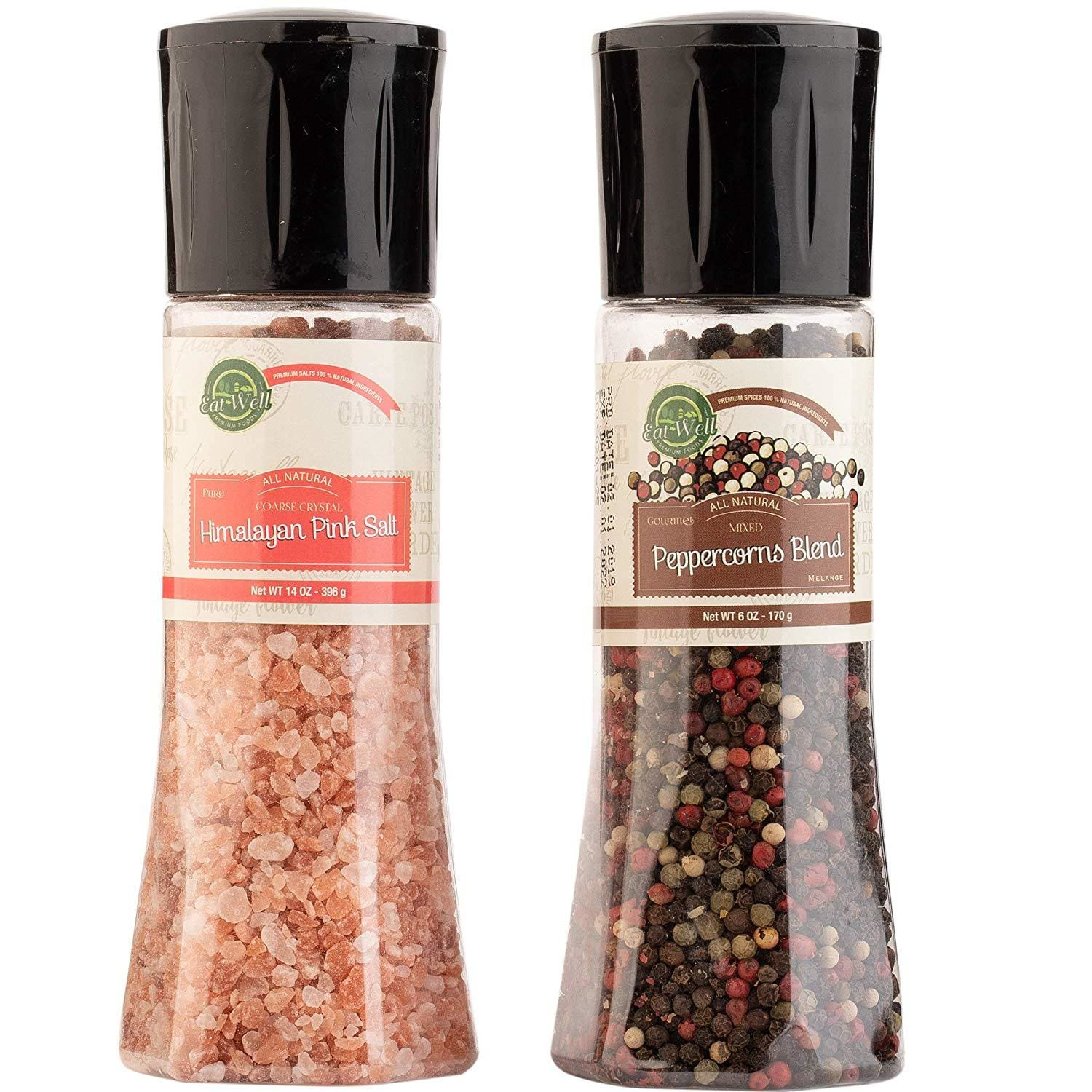 Four Peppercorns Blend Grinder (6oz / 170 g) - Pink Himalayan Salt Grinder (14 oz / 396 g)