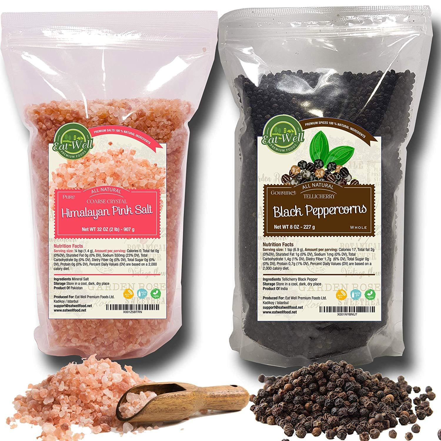 Black Peppercorns 12oz | Himalayan Pink Salt (Coarse Grain) 2 lbs