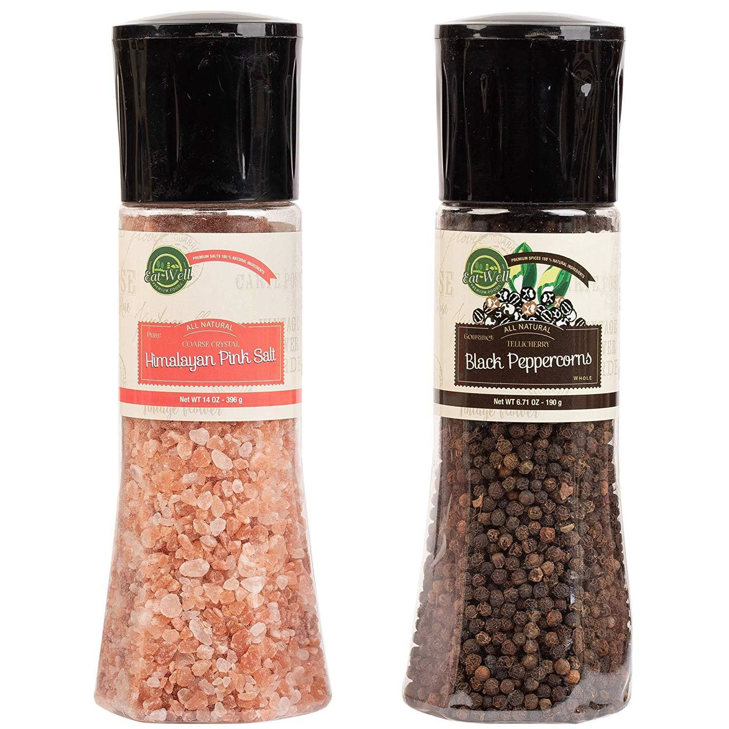 Black Peppercorns Grinder (6.5 oz /185 g ) - Pink Himalayan Salt Grinder ( 13.8 oz /390 g)