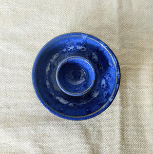 Blue Spotted Candle Holder