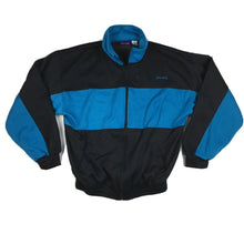 Load image into Gallery viewer, VTG 80s/90s Spalding Basketball Zip Up Track Jacket Black/Teal Sz Large