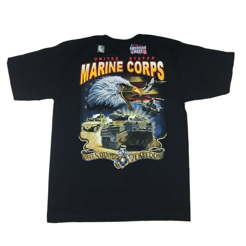 90s United States Marine Corps Screaming Eagle Defending Freedom Graphic T-Shirt