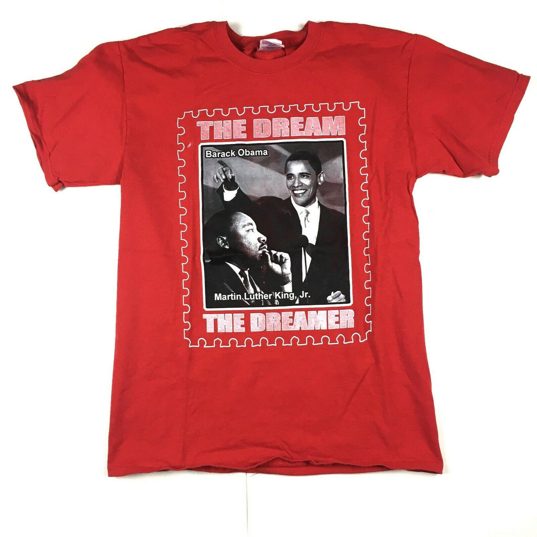 Martin Luther King Jr. and Barack Obama The Dream & The Dreamer T-Shirt Red Sz M