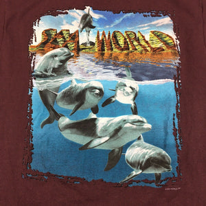 Vintage 90s Sea World 3D Dolphins Graphic T-Shirt (Brown) Sz Large