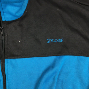 VTG 80s/90s Spalding Basketball Zip Up Track Jacket Black/Teal Sz Large