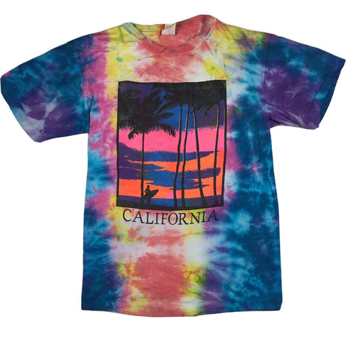 Custom 90s California Tie Dye T-Shirt Mutlicolor Single Stitch Sz Large