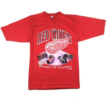 "Load image into Gallery viewer, VTG Detroit Red Wings ""Brand of Hockey"" V-Neck T-Shirt NHL Sport Attack Sz Large"