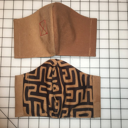Banned Workwear Face Mask (Khaki/Geometric Print)