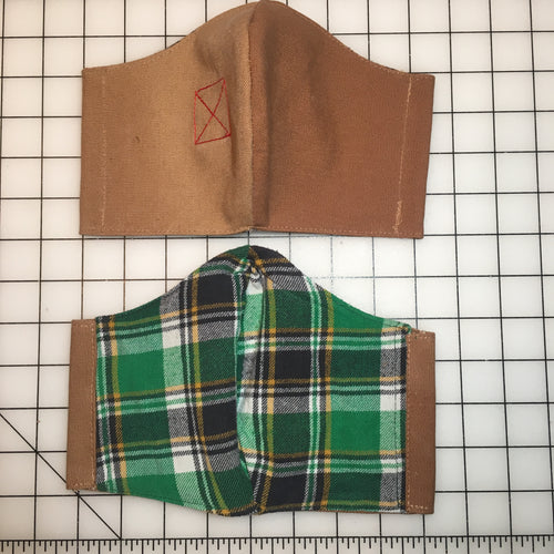 Banned Workwear Face Mask (Khaki/Green Flannel)