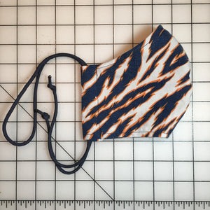 Reworked Zubaz Tiger Stripe Face Mask (Blue/Orange/White)