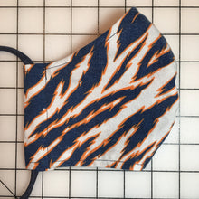 Load image into Gallery viewer, Reworked Zubaz Tiger Stripe Face Mask (Blue/Orange/White)