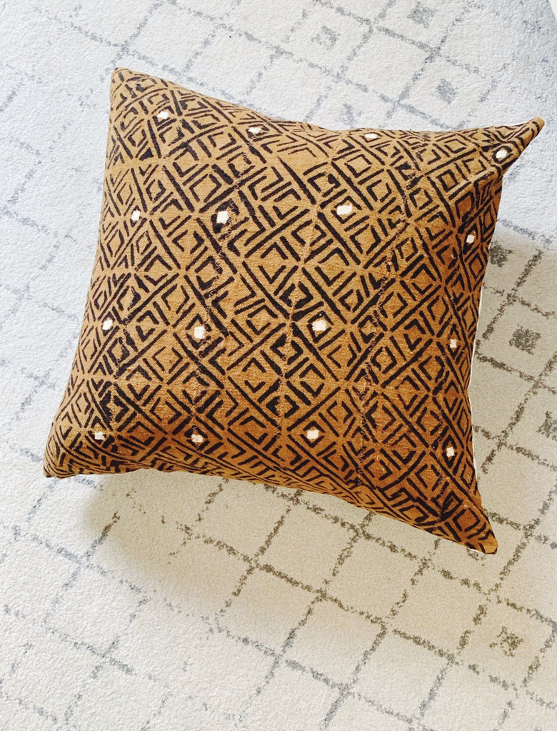 "AREN Throw Pillow | African Mud Cloth African Mud Cloth Hudson and Harper 18"" x 18"""