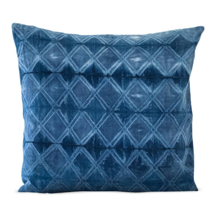 "AARAV Throw Pillow | Hand-dyed Indigo Shibori Hudson and Harper 20"" x 20"""