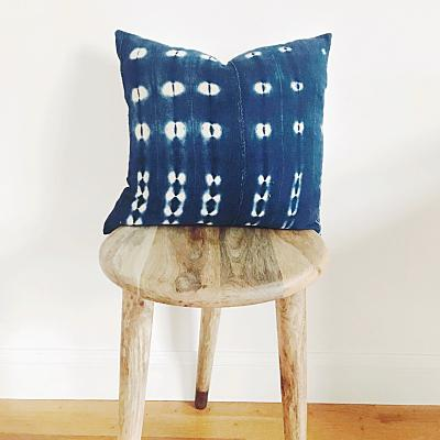"BOBO Throw Pillow | Vintage African Indigo Hudson and Harper 18"" x 18"""