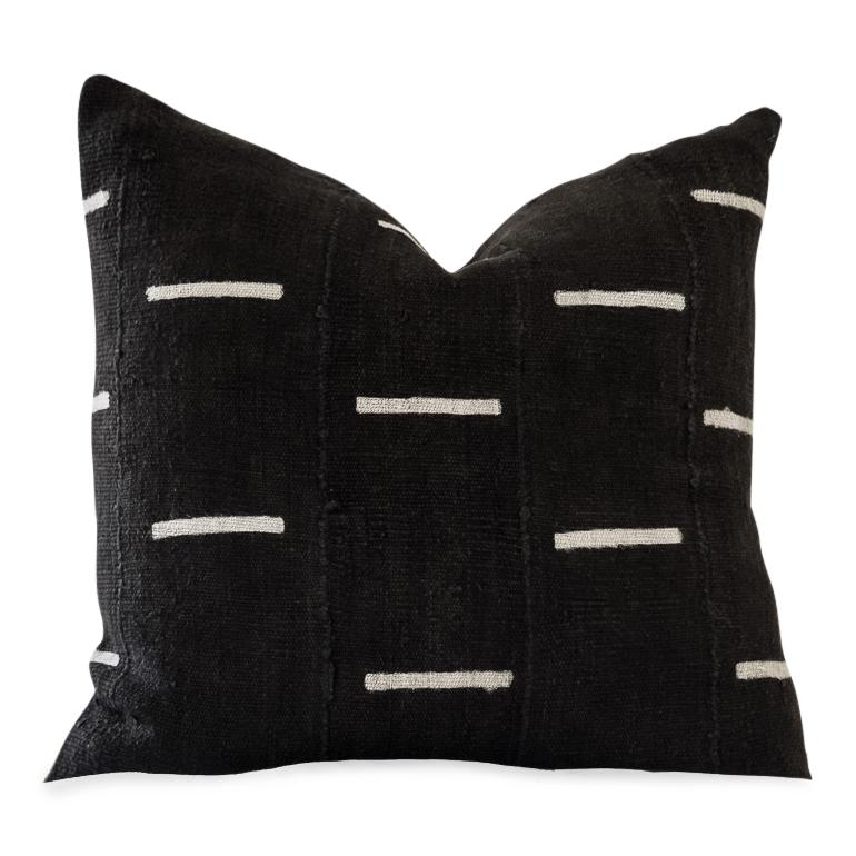 BLACK DAVU Throw Pillow | African Mud Cloth