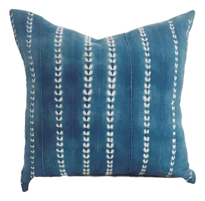 "DHALIA Throw Pillow | Vintage African Indigo Hudson and Harper 20"" x 20"""