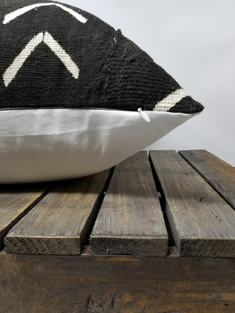 BLACK AZIBO Throw Pillow | African Mud Cloth