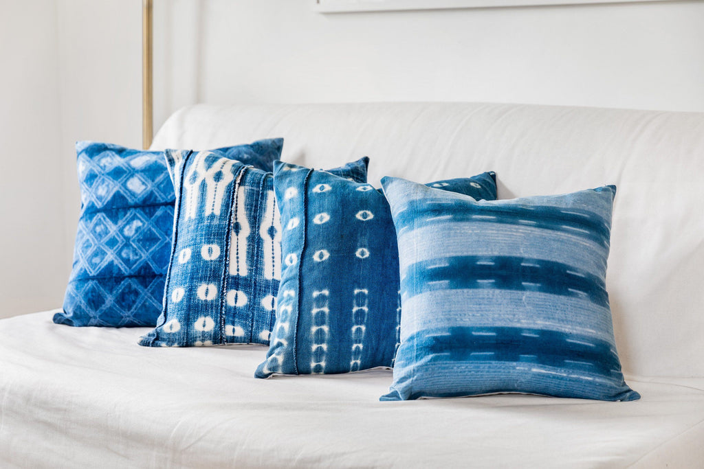 AARAV Throw Pillow | Hand-dyed Indigo Shibori Hudson and Harper