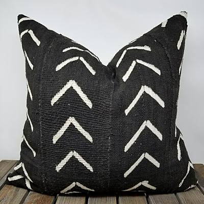 MISFIT BLACK AZIBO Throw Pillow | African Mud Cloth