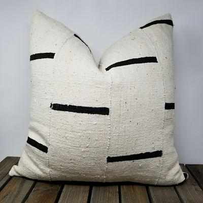 African MudCloth Pillows White with Black Stripes -DAVU