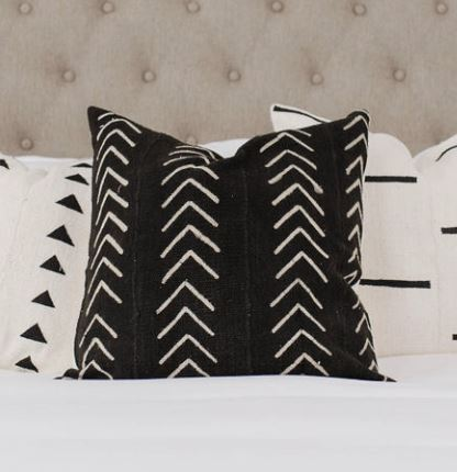 BLACK AZIBO Throw Pillow | African Mud Cloth African Mud Cloth Hudson and Harper
