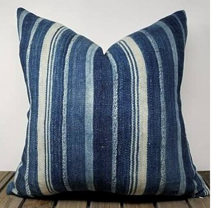 "ZANE Throw Pillows | Vintage African Indigo Hudson and Harper 14"" x 24"""