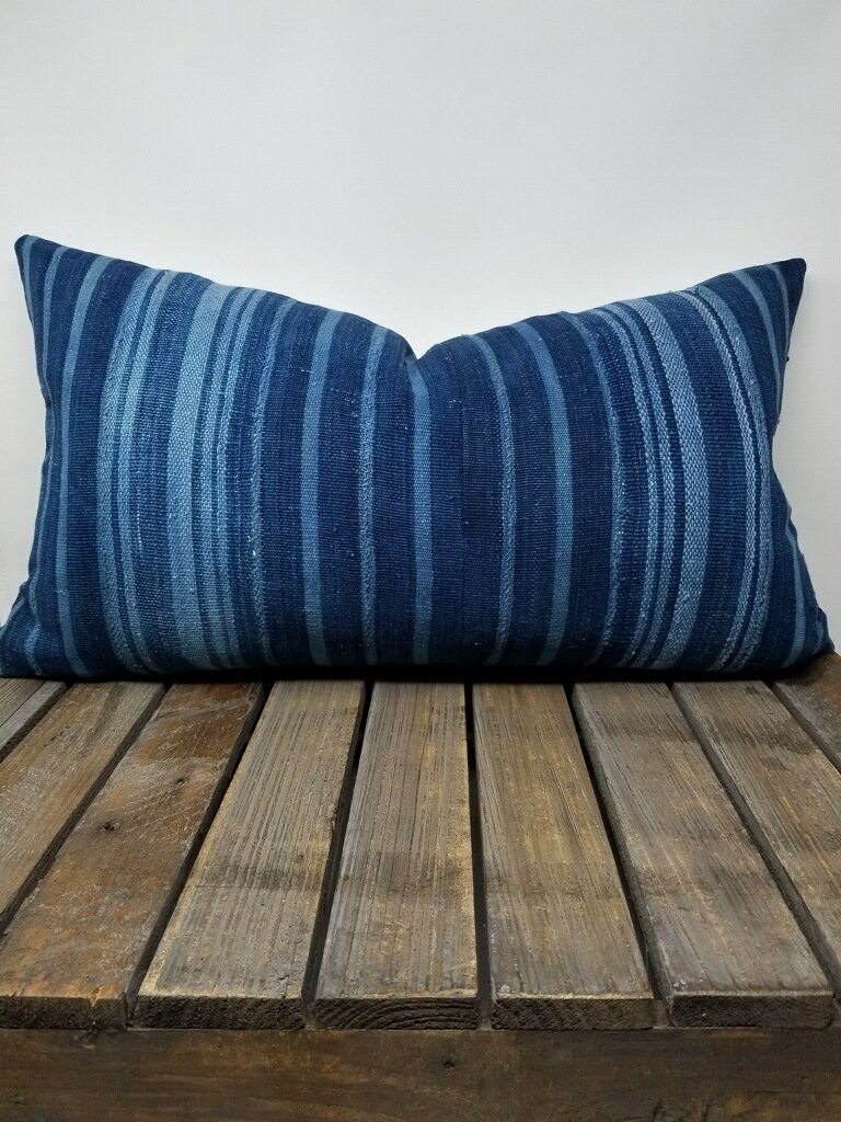 LULU Throw Pillow | Vintage African Indigo