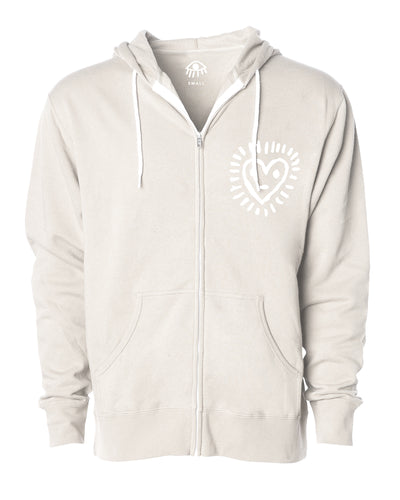 Happy heart Zip Up Hooded Sweater