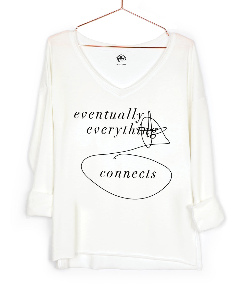 Eventually everything connects V-Neck Long Sleeve Tee