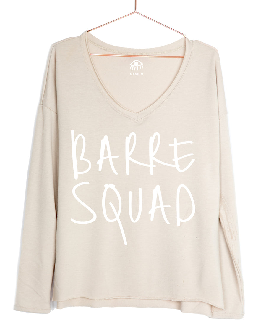 Barre Squad V-Neck Long Sleeve Tee