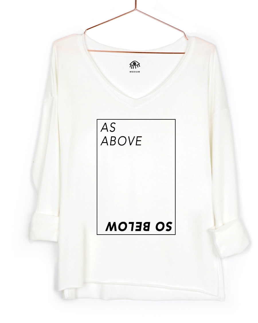 As Above So Bellow V-Neck Long Sleeve Tee