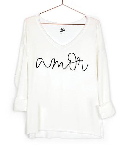 Amor / Love V-Neck Long Sleeve Tee